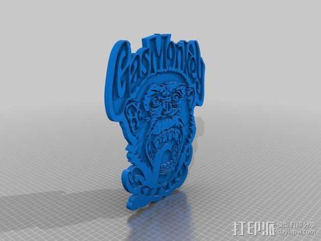 GAS MONKEY 汽车修理店 标志 3D打印模型渲染图