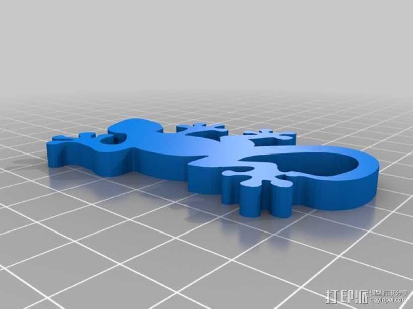 壁虎钥匙扣 3D打印模型渲染图