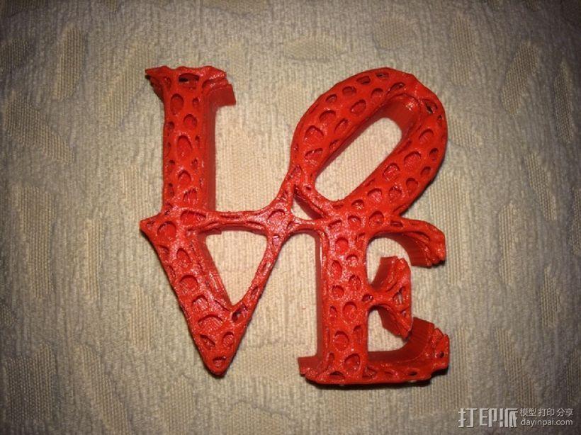 泰森多边形法风格-Love 3D打印模型渲染图