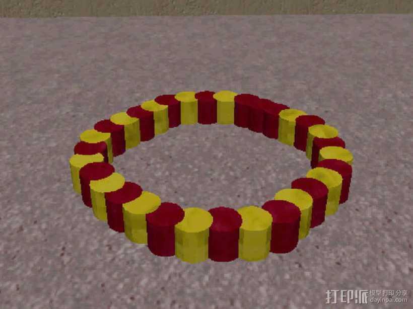 双色手环 3D打印模型渲染图