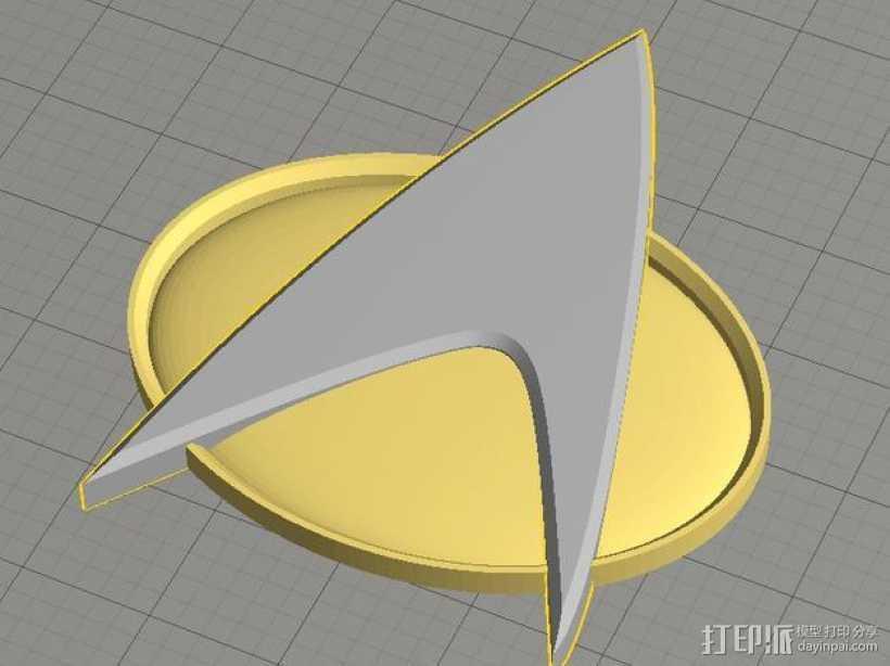 《星际迷航》通信徽章 3D打印模型渲染图