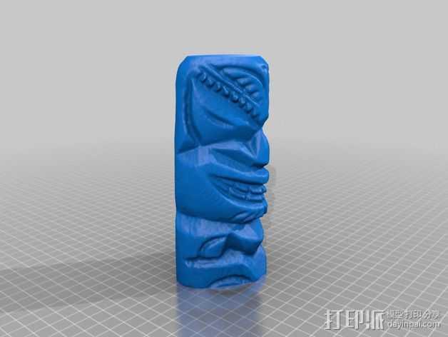夏威夷木雕 3D打印模型渲染图
