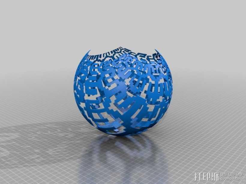 我特制的低分辨率立体投影 3D打印模型渲染图
