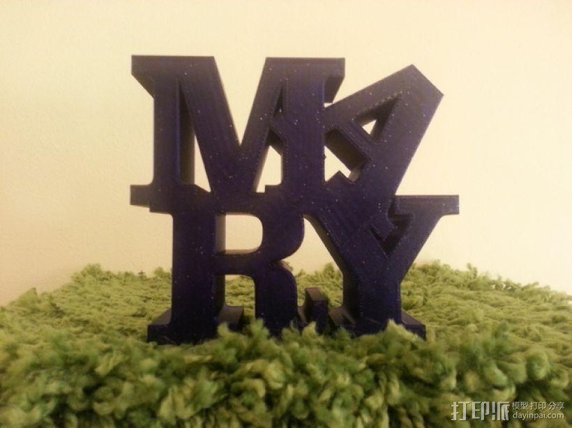 Mary 字母雕塑 3D打印模型渲染图
