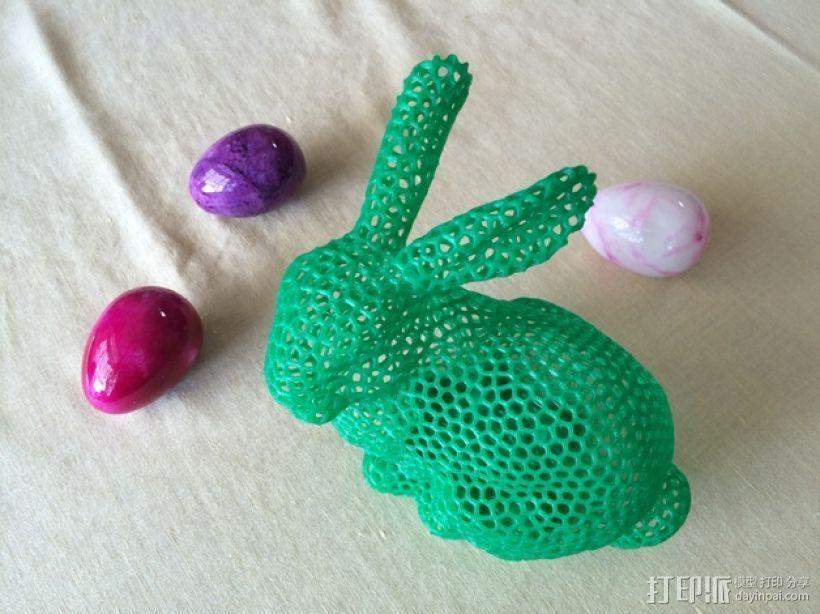 泰森多边形风格的复活节兔子 3D打印模型渲染图