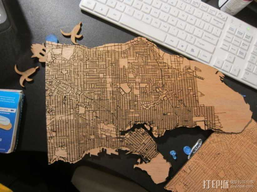 激光雕刻木质地图 3D打印模型渲染图