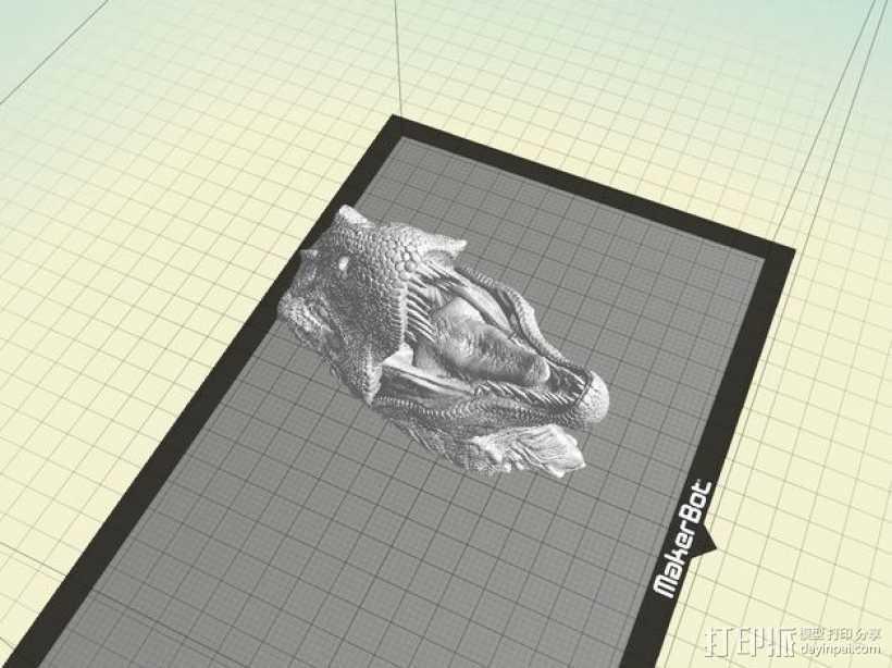霸王龙半身像 3D打印模型渲染图