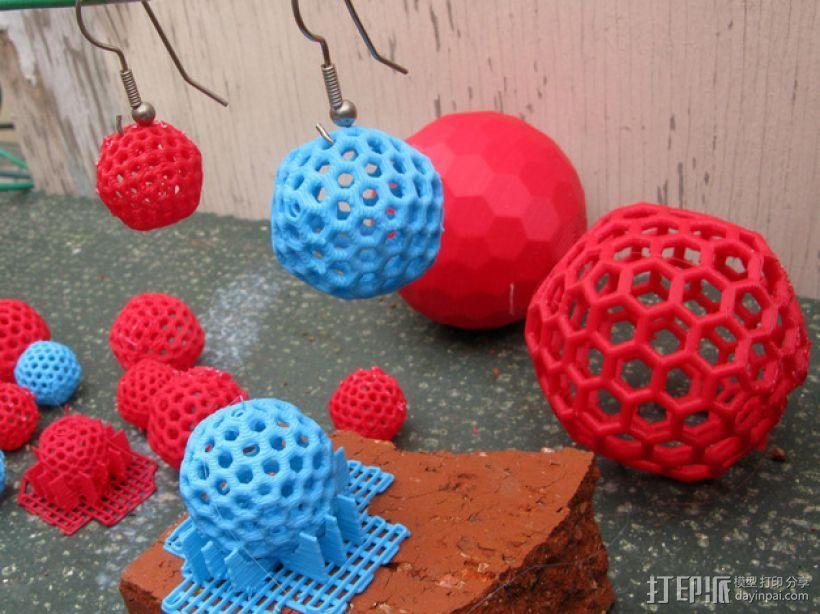 碳240原子球型耳环 3D打印模型渲染图