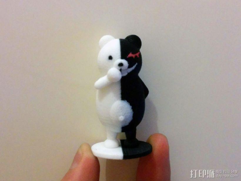 黑白熊 3D打印模型渲染图