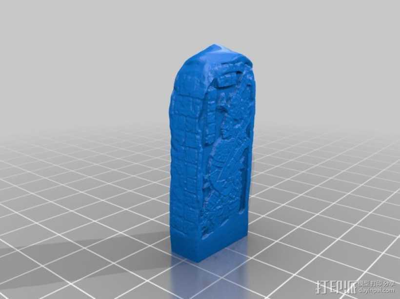 芝加哥艺术博物馆中的古典期玛雅石碑 3D打印模型渲染图