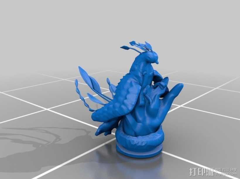 起飞的凤凰 3D打印模型渲染图