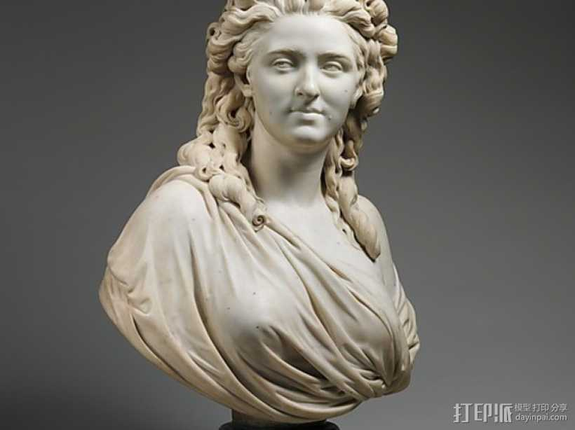Wailly夫人 雕塑 3D打印模型渲染图