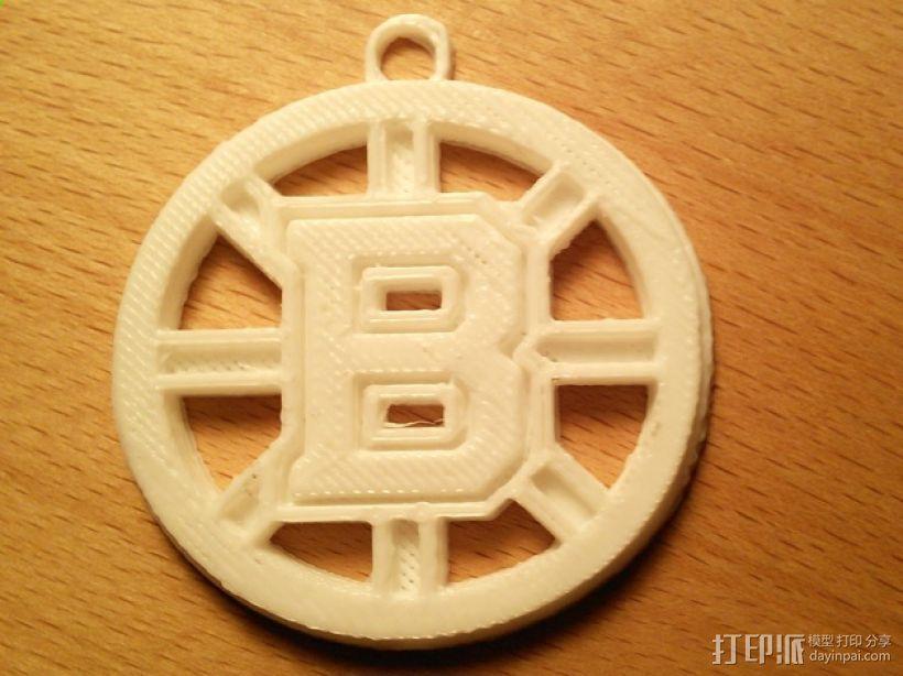 波士顿棕熊队标志钥匙扣 3D打印模型渲染图