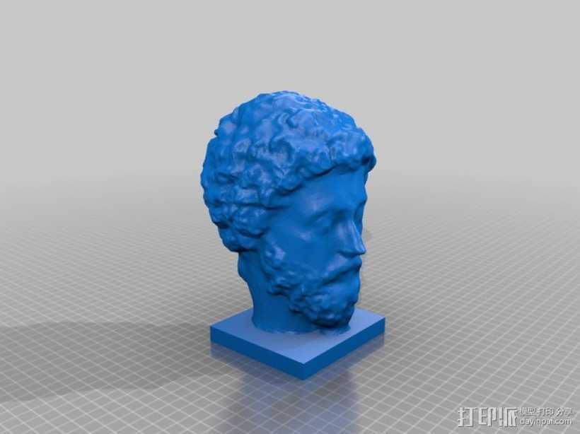 马可·奥里利乌斯 头像 3D打印模型渲染图