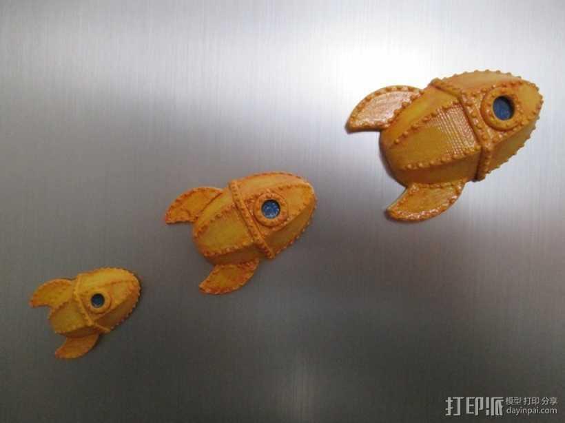 火箭 冰箱贴 3D打印模型渲染图