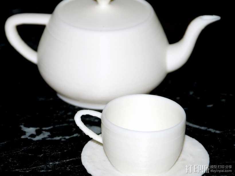 犹他茶杯 杯垫 3D打印模型渲染图