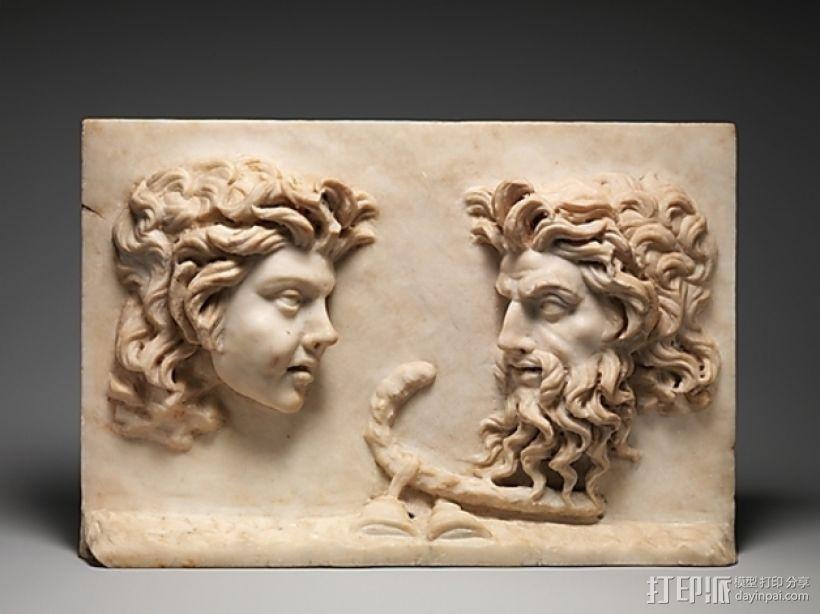 萨堤尔和西勒诺斯 古罗马雕塑 3D打印模型渲染图