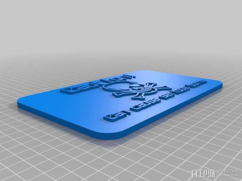 警告标志 3D打印模型渲染图