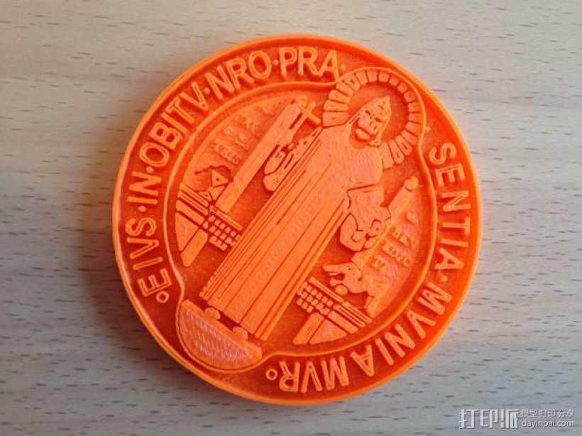 圣本笃 纪念章 3D打印模型渲染图