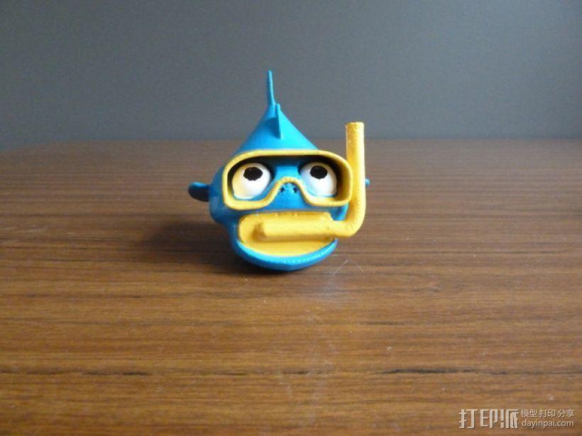 潜水的小鱼 玩偶 3D打印模型渲染图