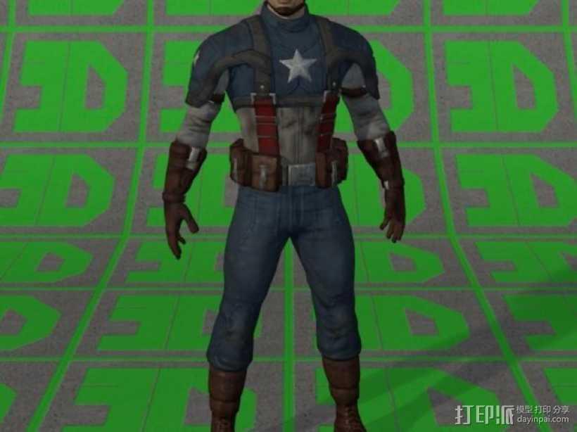 美国队长 3D打印模型渲染图