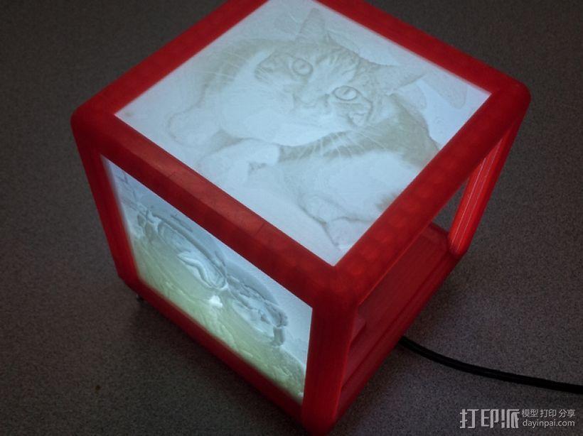 定制化 透光浮雕 立方体 3D打印模型渲染图