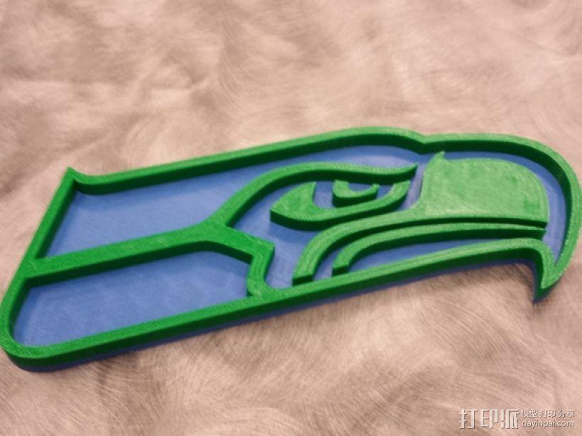 西雅图海鹰队 标志 3D打印模型渲染图