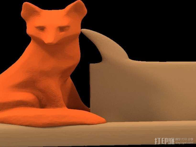 狐狸 名片架 3D打印模型渲染图