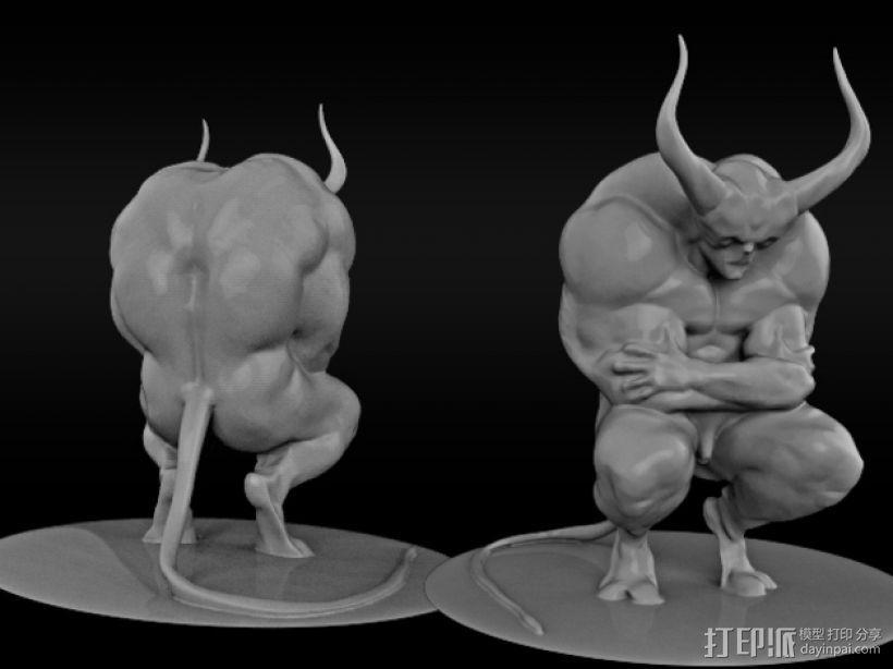 沉思的恶魔 3D打印模型渲染图