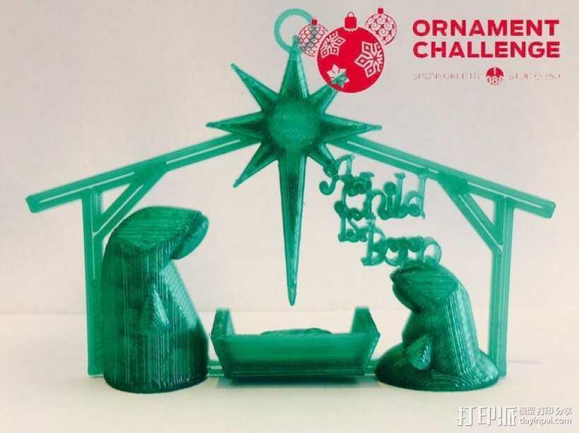 耶稣诞生 圣诞树装饰品 3D打印模型渲染图