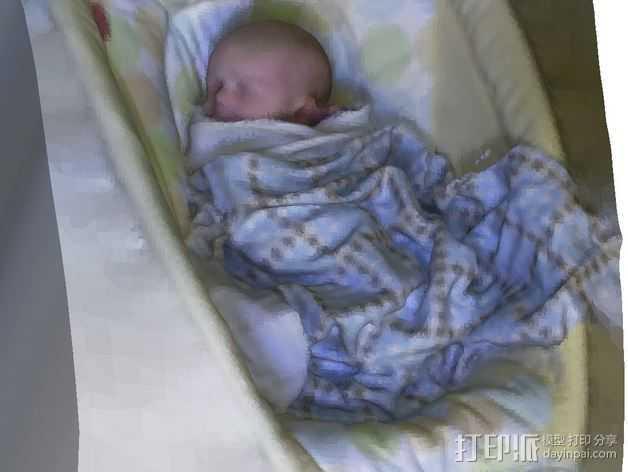 沉睡中的婴儿 3D打印模型渲染图