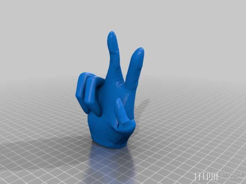 V字形手势 3D打印模型渲染图