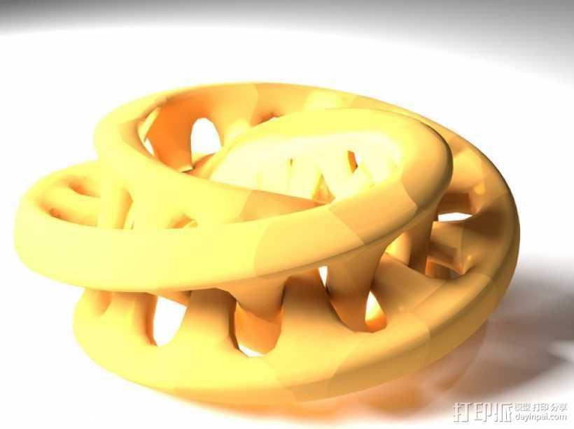 联锁莫斯比环 3D打印模型渲染图