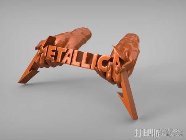 金属乐队 Metallica 标志 3D打印模型渲染图