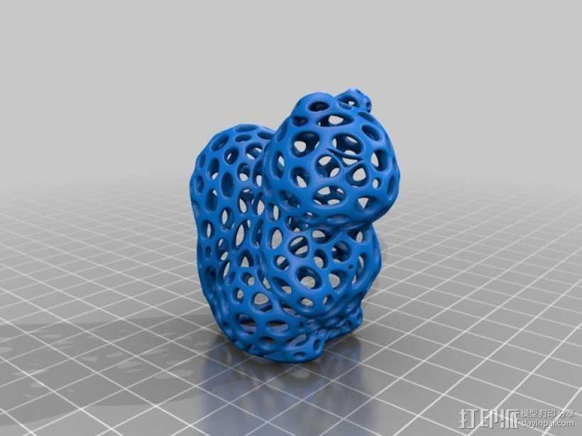 镂空松鼠 3D打印模型渲染图