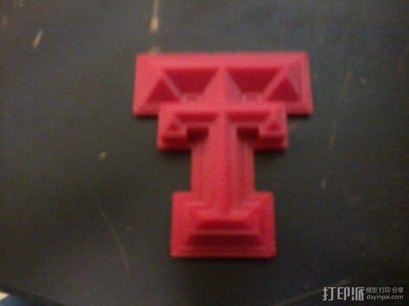 德州理工大学标志 3D打印模型渲染图