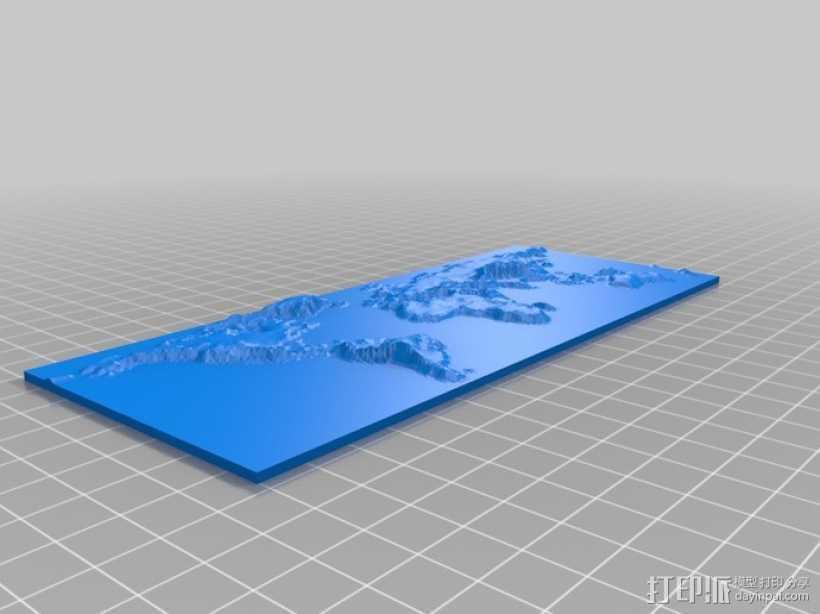 世界地形图 3D打印模型渲染图