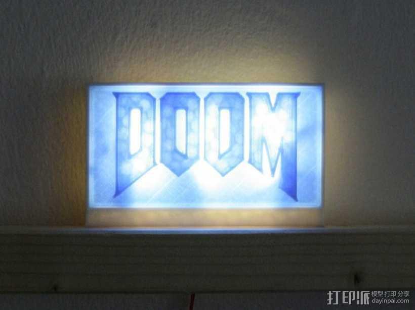 DooM 床头灯 3D打印模型渲染图