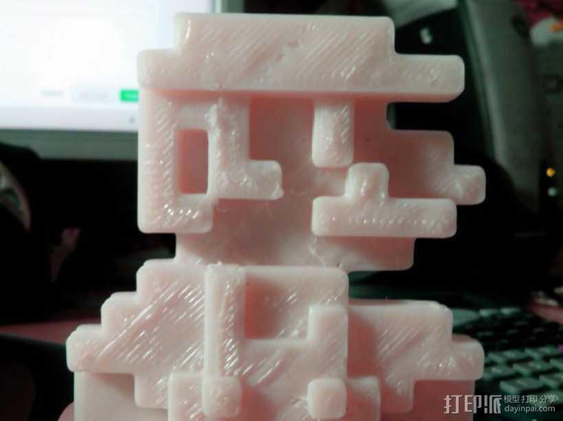 8bits 马里奥 3D打印模型渲染图