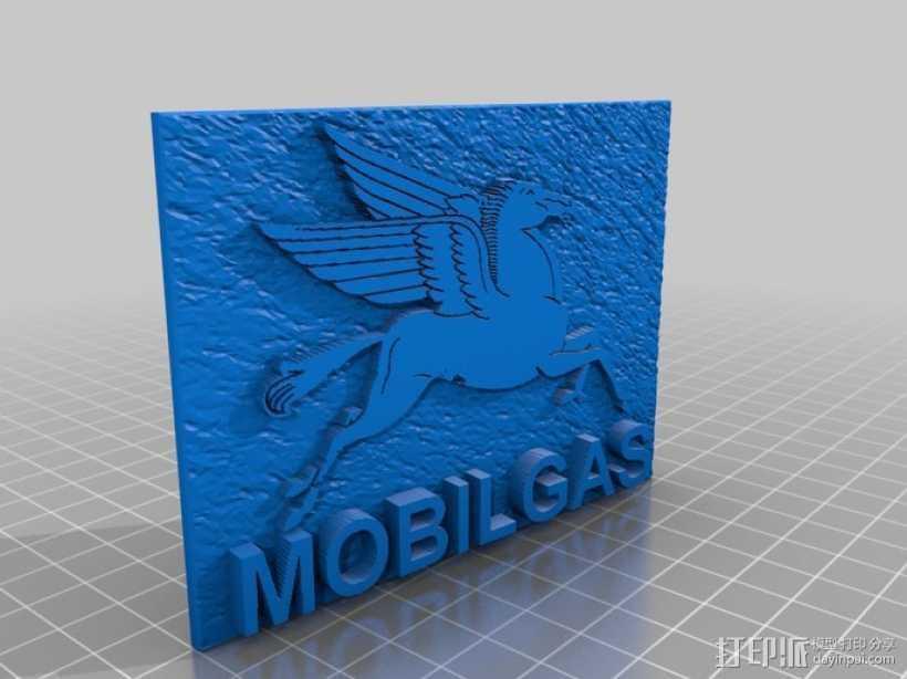 美孚润滑油 标志 3D打印模型渲染图