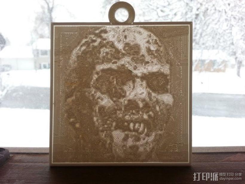 僵尸 浮雕 3D打印模型渲染图