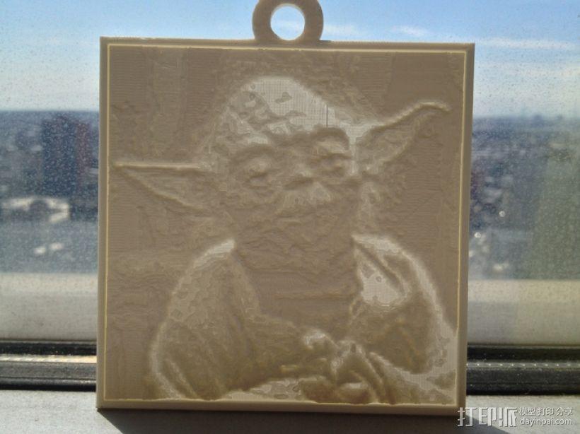 尤达大师 浮雕 3D打印模型渲染图