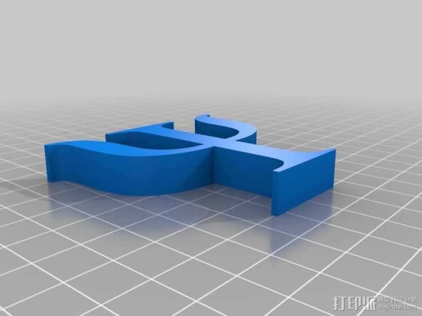 希腊字母 Psi 3D打印模型渲染图