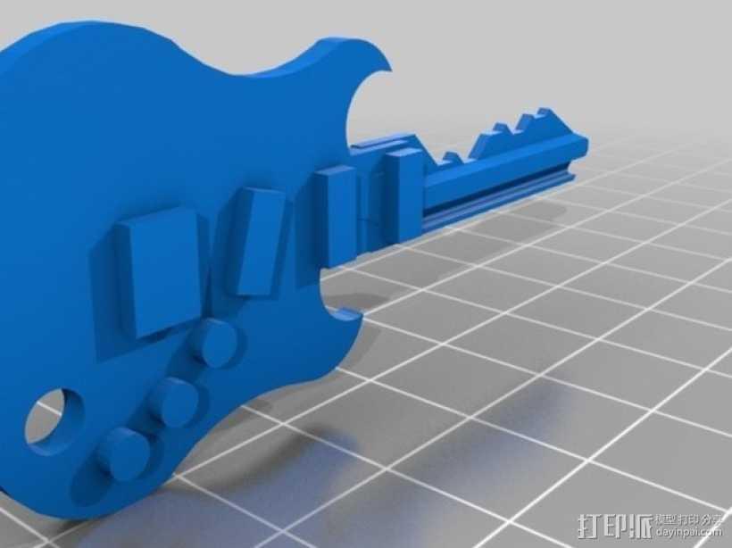 键盘吉他  3D打印模型渲染图