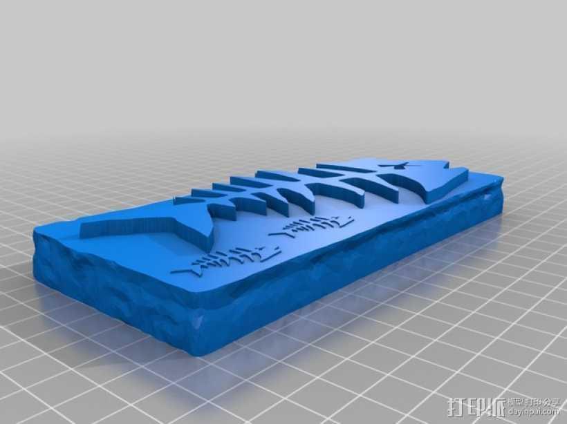 鱼骨化石 3D打印模型渲染图