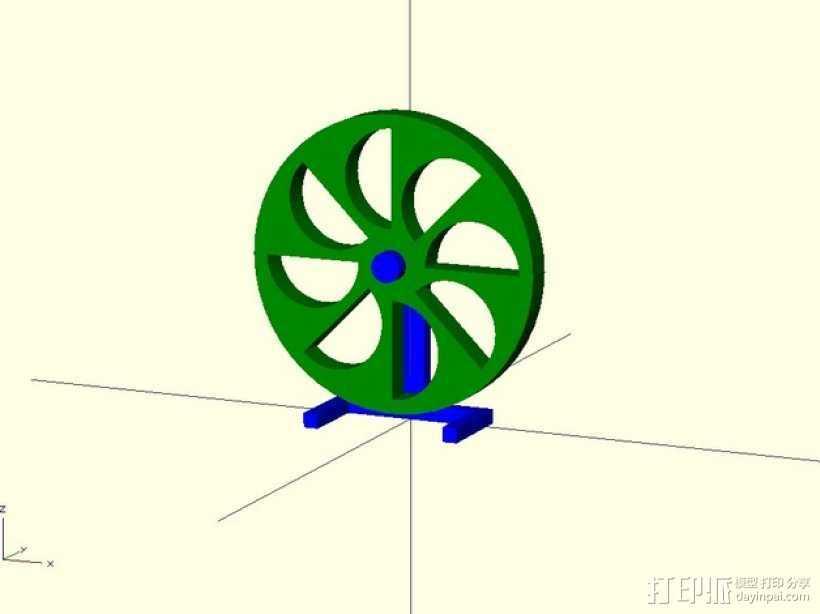 定制化永动轮 3D打印模型渲染图