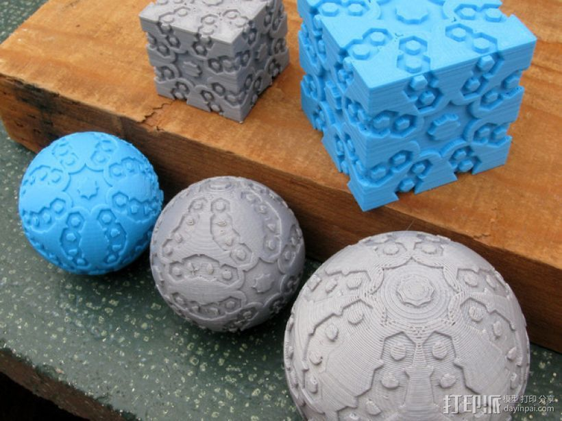 立方体 球体 3D打印模型渲染图