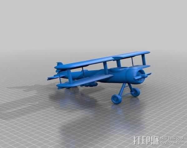 双翼飞机 3D打印模型渲染图