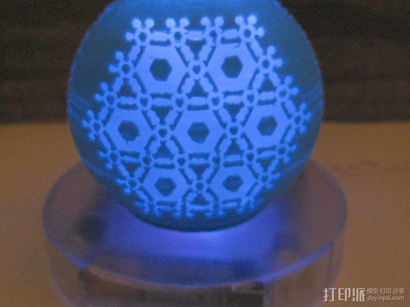半透明雪花装饰品 3D打印模型渲染图