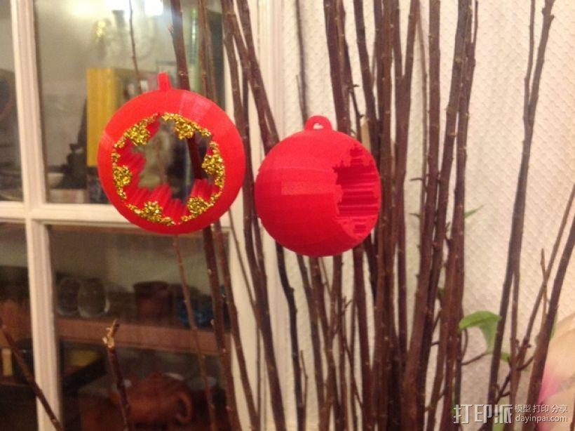 球形雪花圣诞装饰品 3D打印模型渲染图